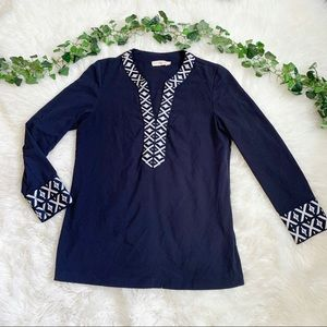 Tory Burch Blue Embroidered Tunic Blouse